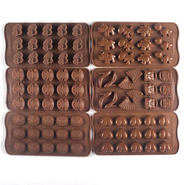 Bekith 6 Pack Silicone Gel Non-stick Chocolate, Jelly and Candy Mold, Cake  Baking Mold