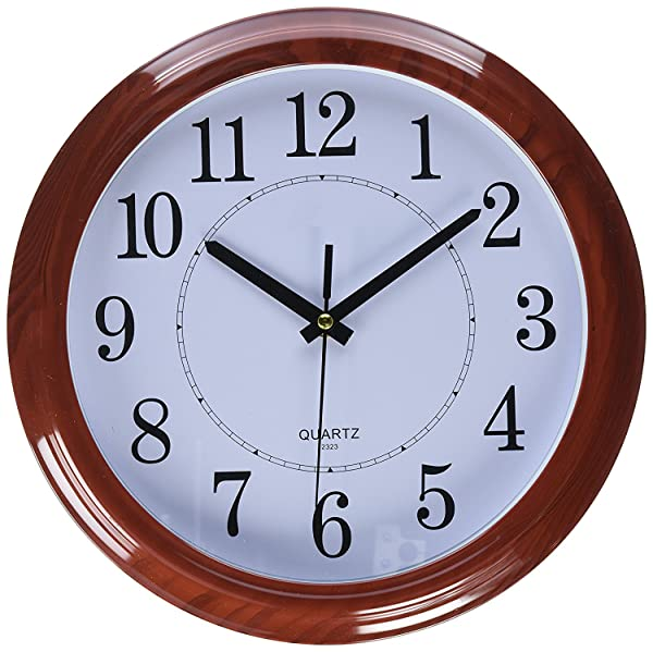 Bekith Classic Clock Quiet Sweep Wooden Pattern 13 Inch Wall Clock