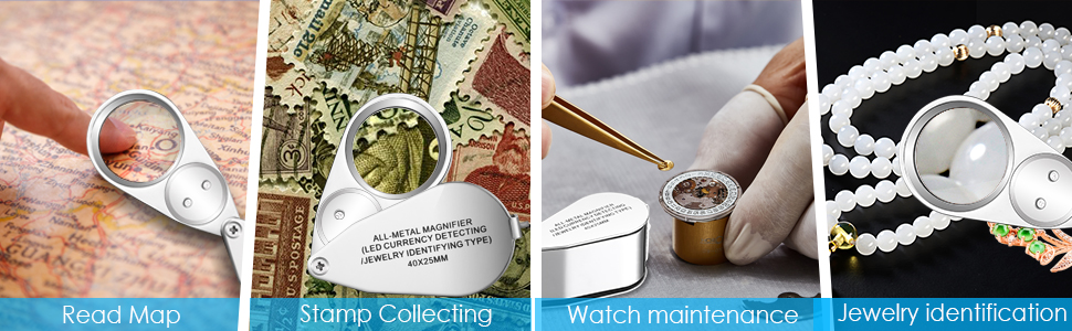 magnifying glass for reading map,collect stamps,watch repair,jewelry testing