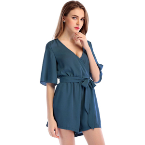 9274617f40d Amazon.com  Moxeay Womens Teens Chiffon Short Sleeve Wrap Front V ...