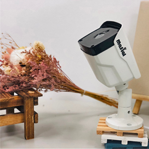 a masial security camera with a flower aside