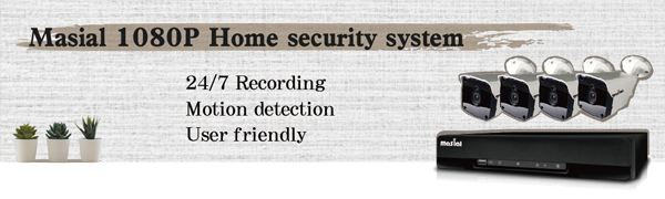 """4 bullet cameras and a DVR, the slogan is """"Masial 1080P Home security system"""""""