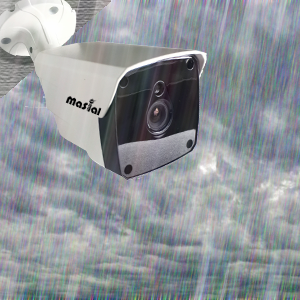 weather proof security camera is standing in the rain