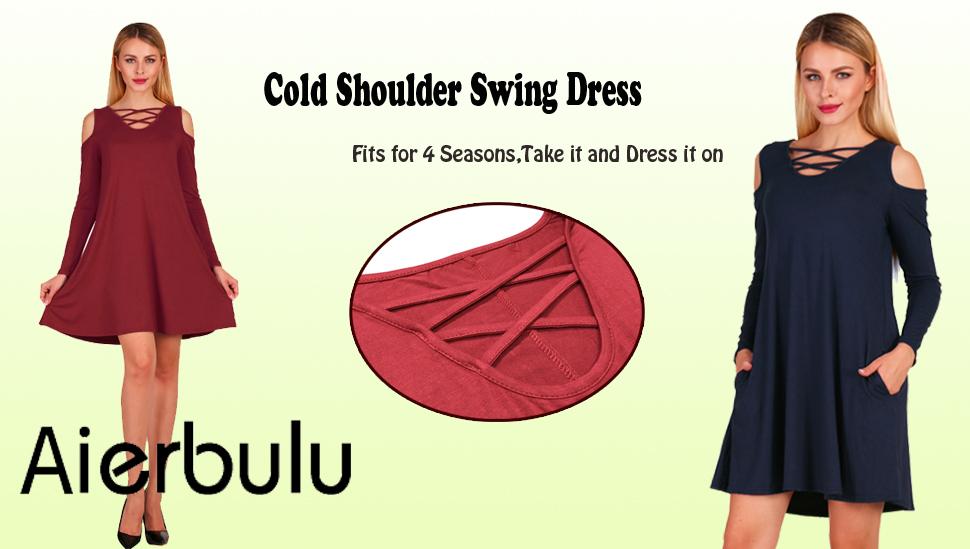 Women Solid Cross Neck Off Shoulder Long Sleeve Swing Tunic Dress Casual Dresses