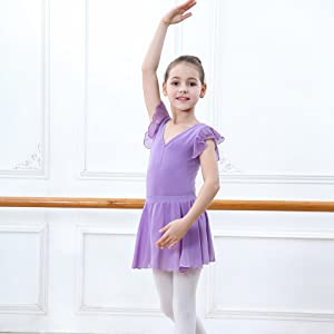 1bf6a136a ZOEREA 2 pcs full body leotard designed with ruffle sleeve will makes your  baby be more catchable and confidence. This short sleeve ballet dress used  in ...
