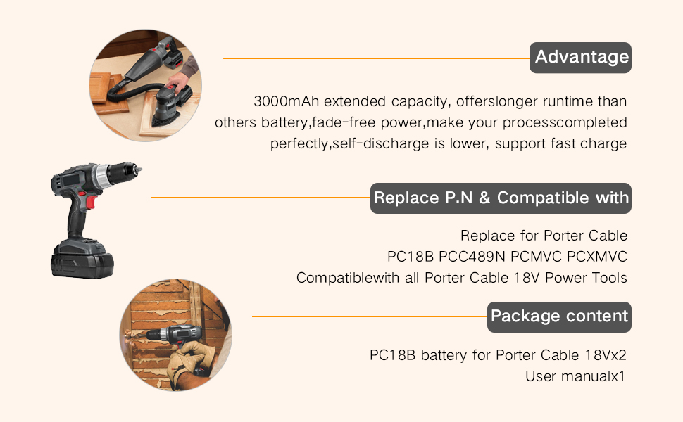 Boetpcr 3 0ah Ni Mh Replacement For Porter Cable 18v