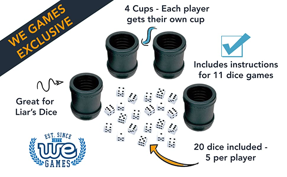 Amazon.com: WE Games Dice Cups, Professional Grade Plastic with 20 ...