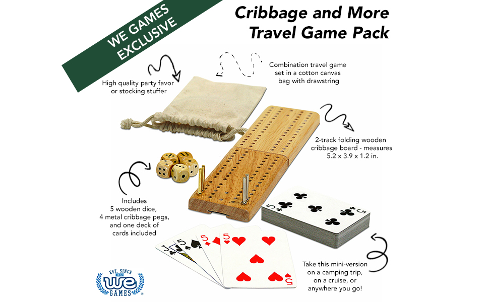 Amazon We Games Cribbage And More Travel Game Pack Toys Games