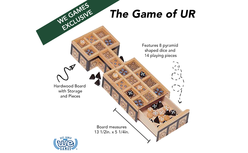 Game of UR, hardwood, pyramid shaped dice