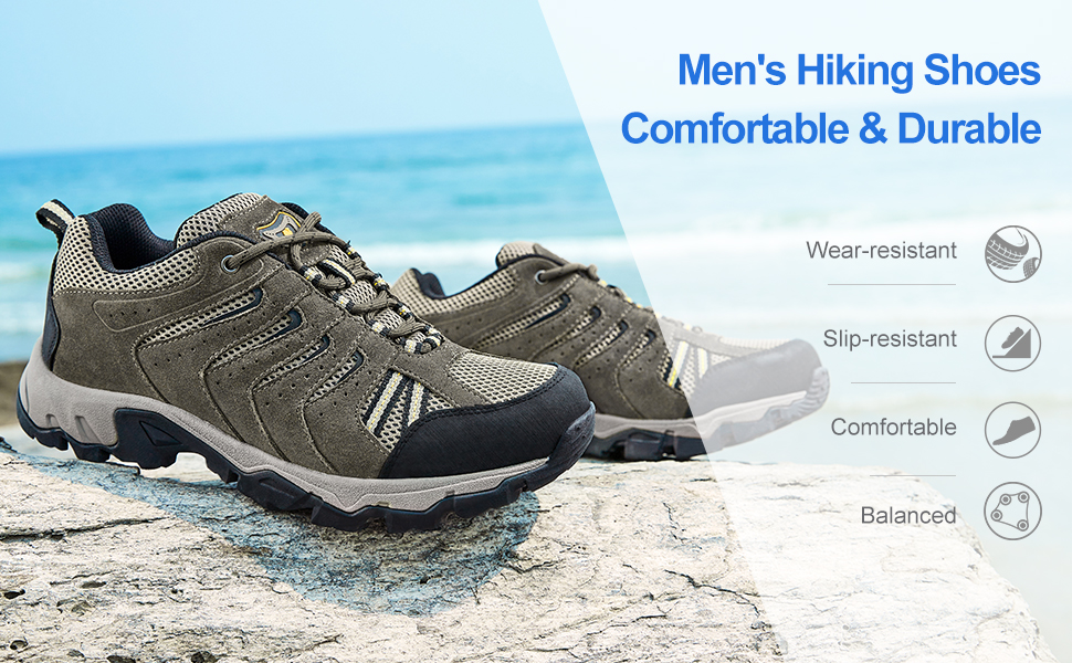 CAMEL CROWN Hiking Shoes for Men Tennis Trail Running Backpacking Walking Shoes Comfortable Slip Resistant Sneakers Lightweight Athletic Trekking Low Top Boot