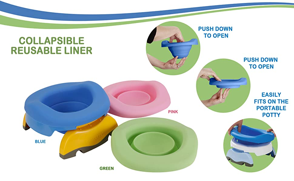 Reusable Liner to Fit Potette Plus Travel Potty Easy To Remove /& Clean Green