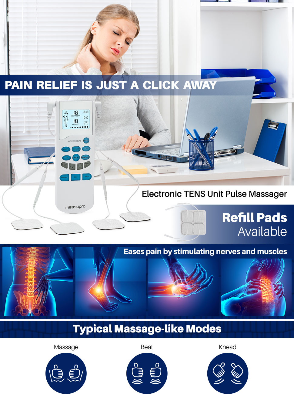 amazon com measupro portable tens unit machine electro therapy