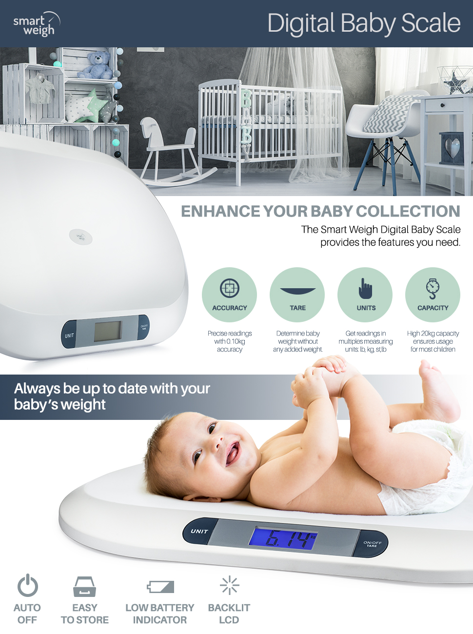 Amazon Com Smart Weigh Comfort Baby Scale With 3 Weighing