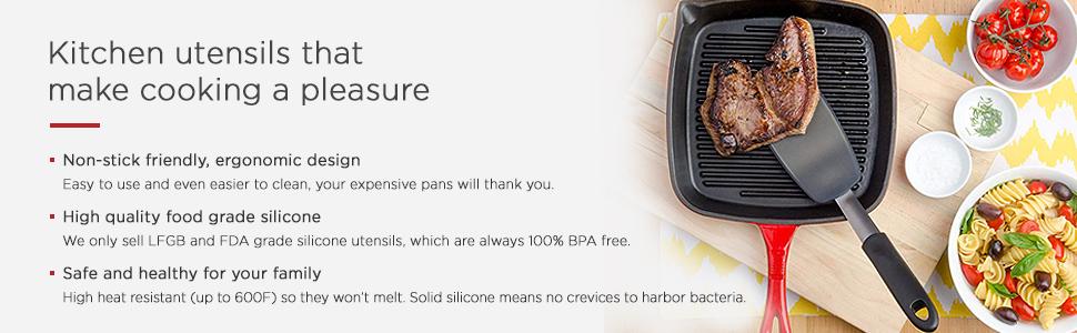non stick spatula high heat resistant flexible thin rubber flipper black gray wide