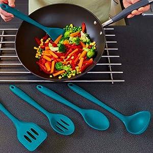 silicone spoon spatula set,kitchen utensils spatula set blue,non stick cooking set kitchen utensil