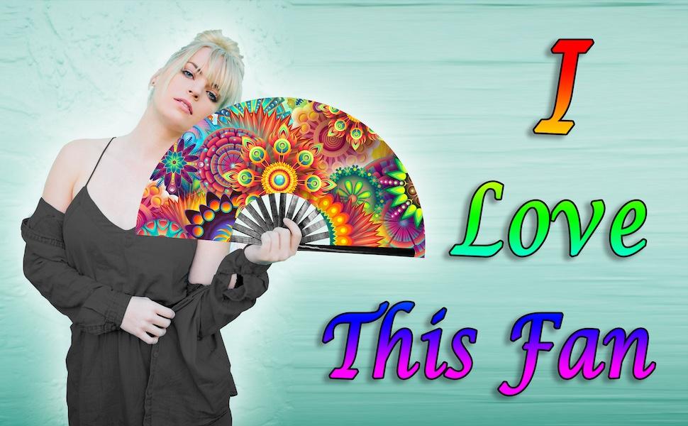 hand folding rave fan for women festival fan drag queen