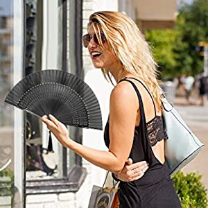 chinese japanese bamboo folding hand rave fan for women festival hot flash small