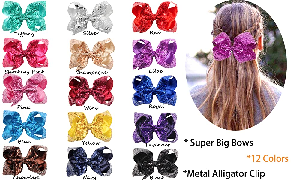 bling sequins bow clips for girls