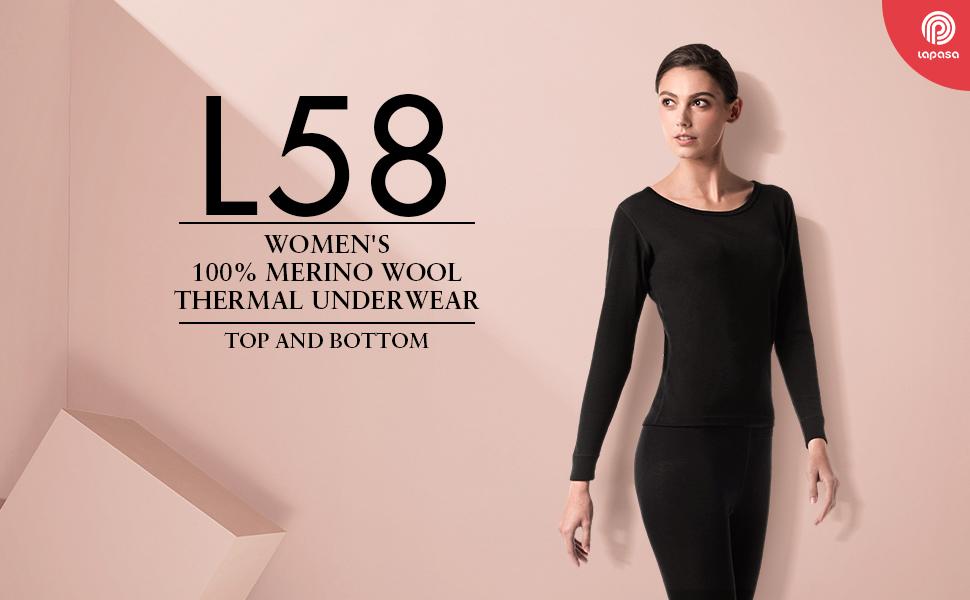 LAPASA Women's 100% Merino Wool Thermal Underwear Set