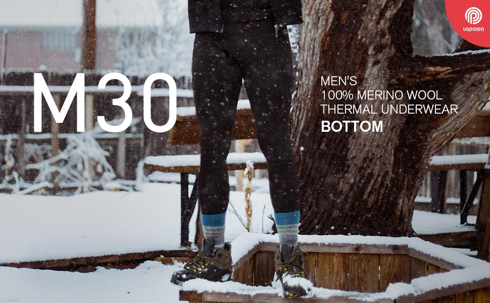 LAPASA MEN'S 100% MERINO WOOL THERMAL UNDERWEAR BOTTOM