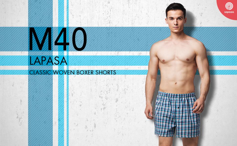 LAPASA Men's Woven Boxer Shorts