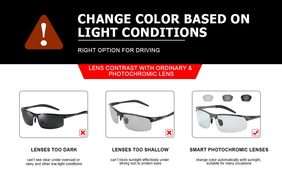 9aeabaae44c Amazon.com  TJUTR Men s Photochromic Sunglasses with Polarized Lens ...