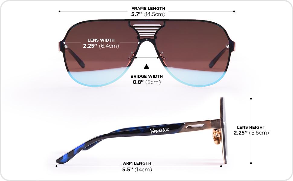 Verdster Blade Mirrored Oversized Aviator Sunglasses Flat Frame Blue