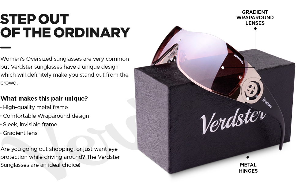 Verdster Casual Shield Sunglasses For Women - Rimless Gradient Design