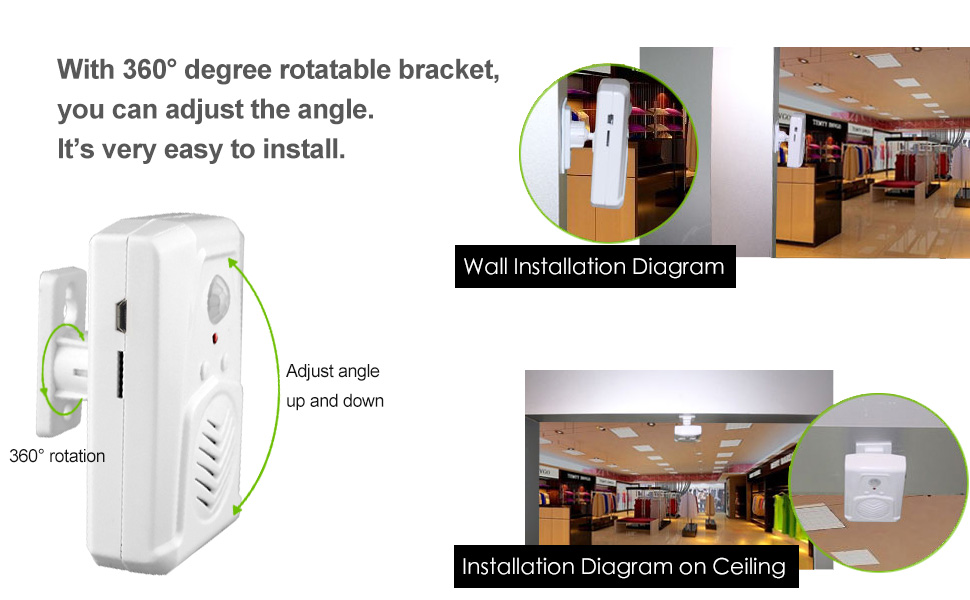 motion sensor music player motion activated recorder  recordable door chime motion detector recorder