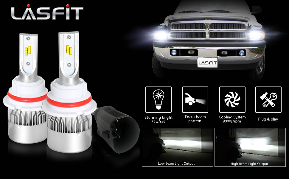 Amazon Com Lasfit Led Headlight Bulbs 9004 Hb1 72w 7600lm Led