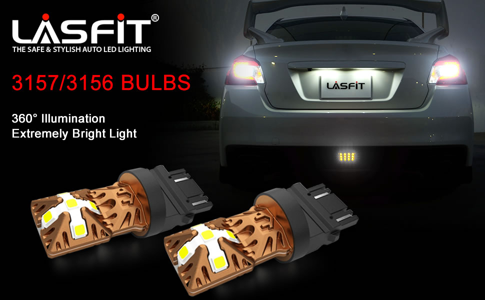 LASFIT 3157 3156 3057 3056 4157 LED Bulbs 6000K Super Bright Use for Back  Up Reverse Lights, Daytime Running Lights, Parking Lights, Xenon White  (Pack