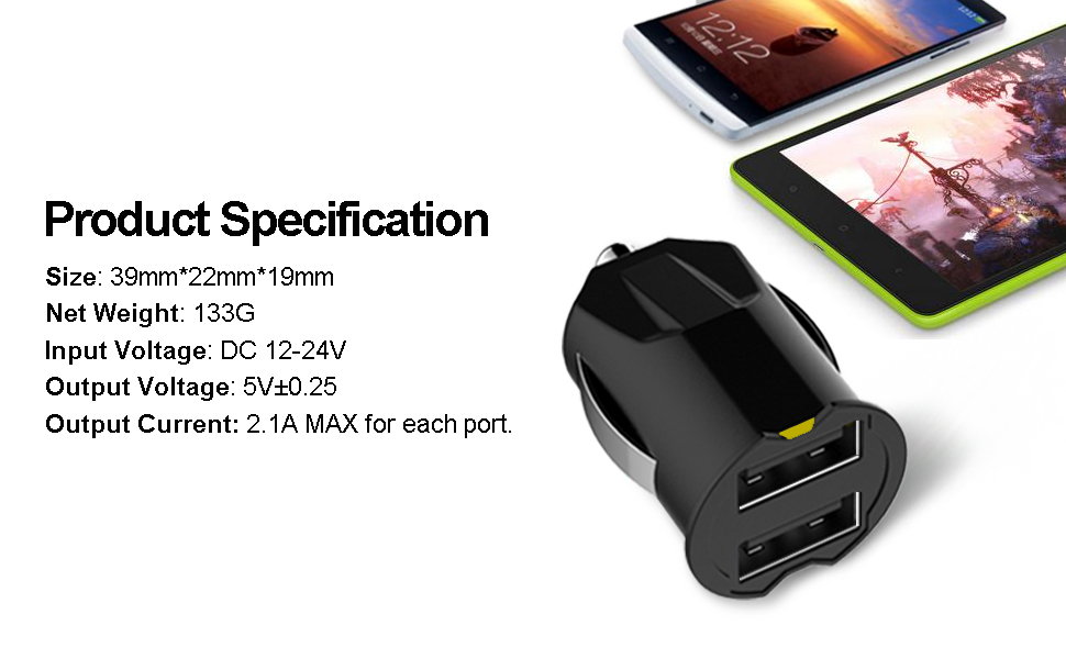 USB Car Charger, UMECORE (2 Pack, White and Green) Fast Charge Dual USB Car Adapter for iPhone X/XS/Max/XR/8/7/Plus, Galaxy Note 9/S9/S8, LG G7 V30, ...