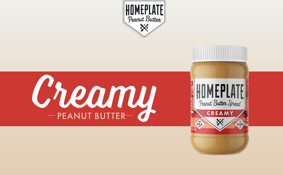 HomePlate's 16 oz, No Stir, Creamy Peanut Butter is All Natural, Low Carb, Gluten Free, and Non-GMO.