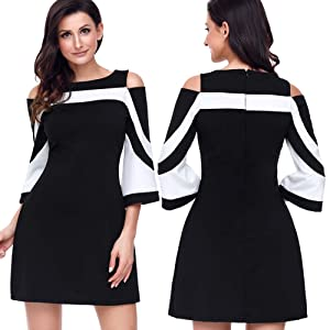 893a57448d Elapsy Womens Casual 3 4 Bell Sleeve Cold Shoulder Colorblock Club ...