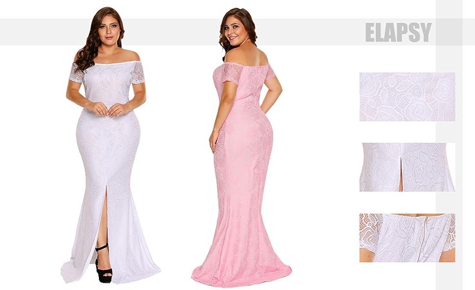 Amazon.com: Elapsy Womens Plus Size Off Shoulder High Slit