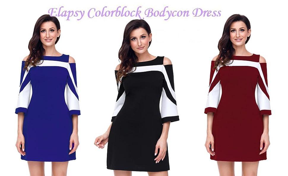 dd97e76237 elapsy dress. Pattern  Color Block. Neckline   O-Neck. Sleeve Length   Three  Quarter Sleeve