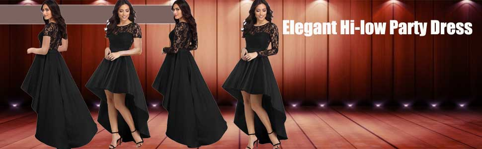 7581df0e63 Long Sleeve Lace High Low Satin Prom Dress. Contrast the crowd with sexy party  dresses at your next formal event