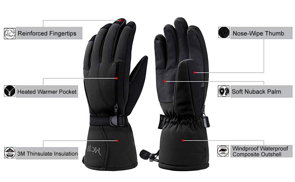 snow ski gloves for mens and womens