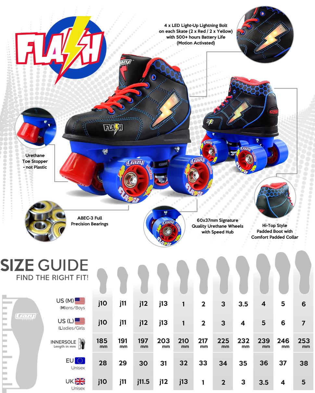 amazon com crazy skates flash kids roller skate with led light