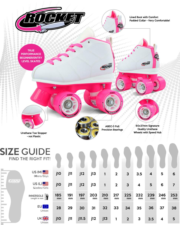amazon com crazy skates rocket kids roller skate rw sports