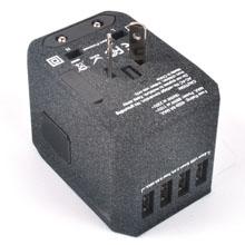 USB Type C Travel Power Plug Adapter (Sand Black) - 5 USB Ports (4 USB Type A + 1 USB Type C)