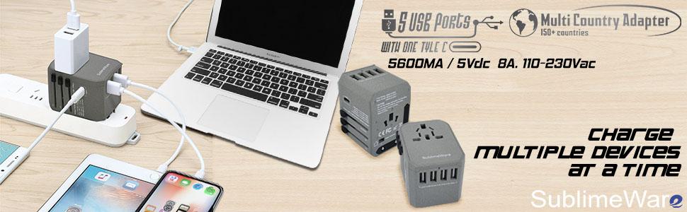 USB Type C Travel Power Plug Adapter (SandGrey) - 5 USB Ports (4 USB Type A + 1 USB Type C) Wall