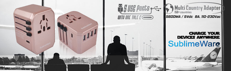 USB Type C Travel Power Plug Adapter - 5 USB Ports (4 USB Type A + 1 USB Type C Rosegold) Wall