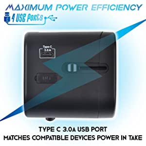 Travel adapter 4 USB ports black charge anywhere multi country worldwide