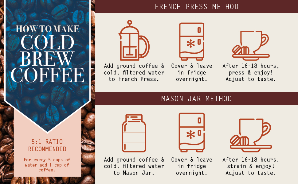 Organic Cold Brew Coffee Grounds 1 Lbs Colombian Supremo Reserve Flavor Dark Roast Coarse Grind 100 Arabica Beans Handcrafted Single Origin Micro Roast Direct Trade By Stack Street