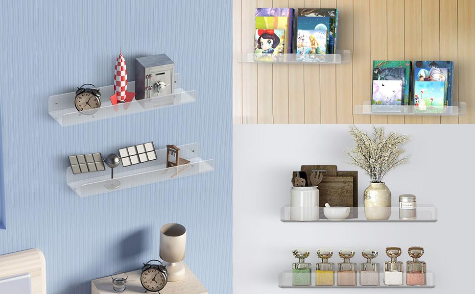 ATHINK Wall Mount Kids Bookshelf Wall Shelves 165 inch Acrylic Floating Shelves Set of 2 No Drilling