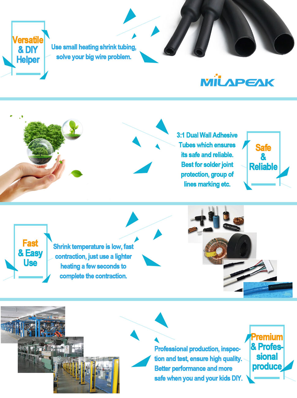 MILAPEAK 31 Dual Wall Adhesive Lined Heat Shrink Tubing Kit