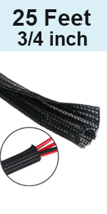 25 ft - 3/4 inch Split PET Expandable Braided Cable Sleeve