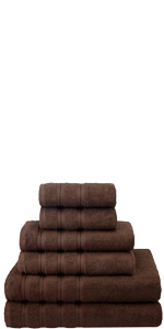 6 piece towel set chocolate brown absorbent hotel quality luxury soft