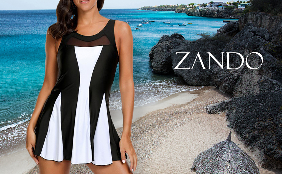 Amazon.com: Zando Women One Piece Swimdress Tummy Control